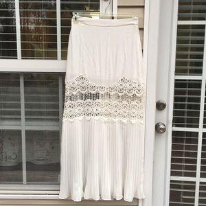 Dance & Marvel white pleated bottom maxi skirt